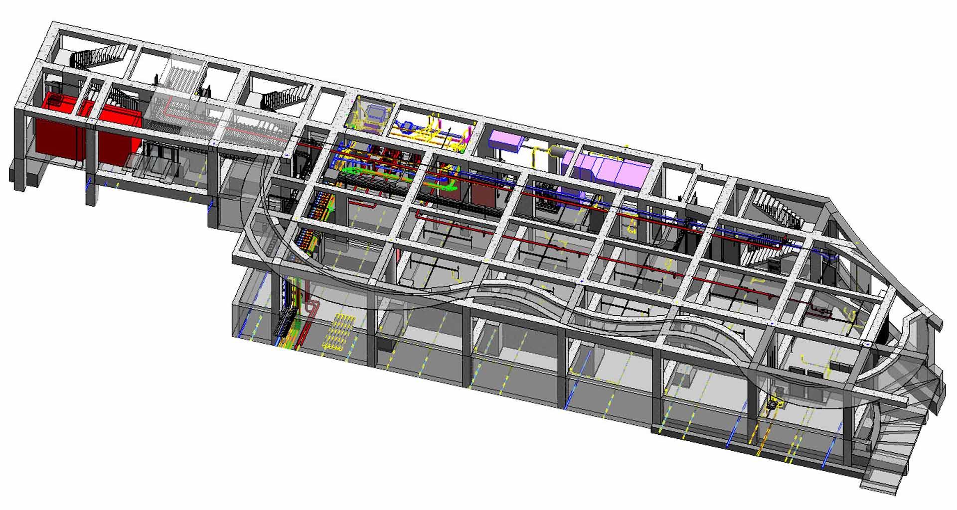 根基營造利用BIM進行機電CSD、SEM套繪。