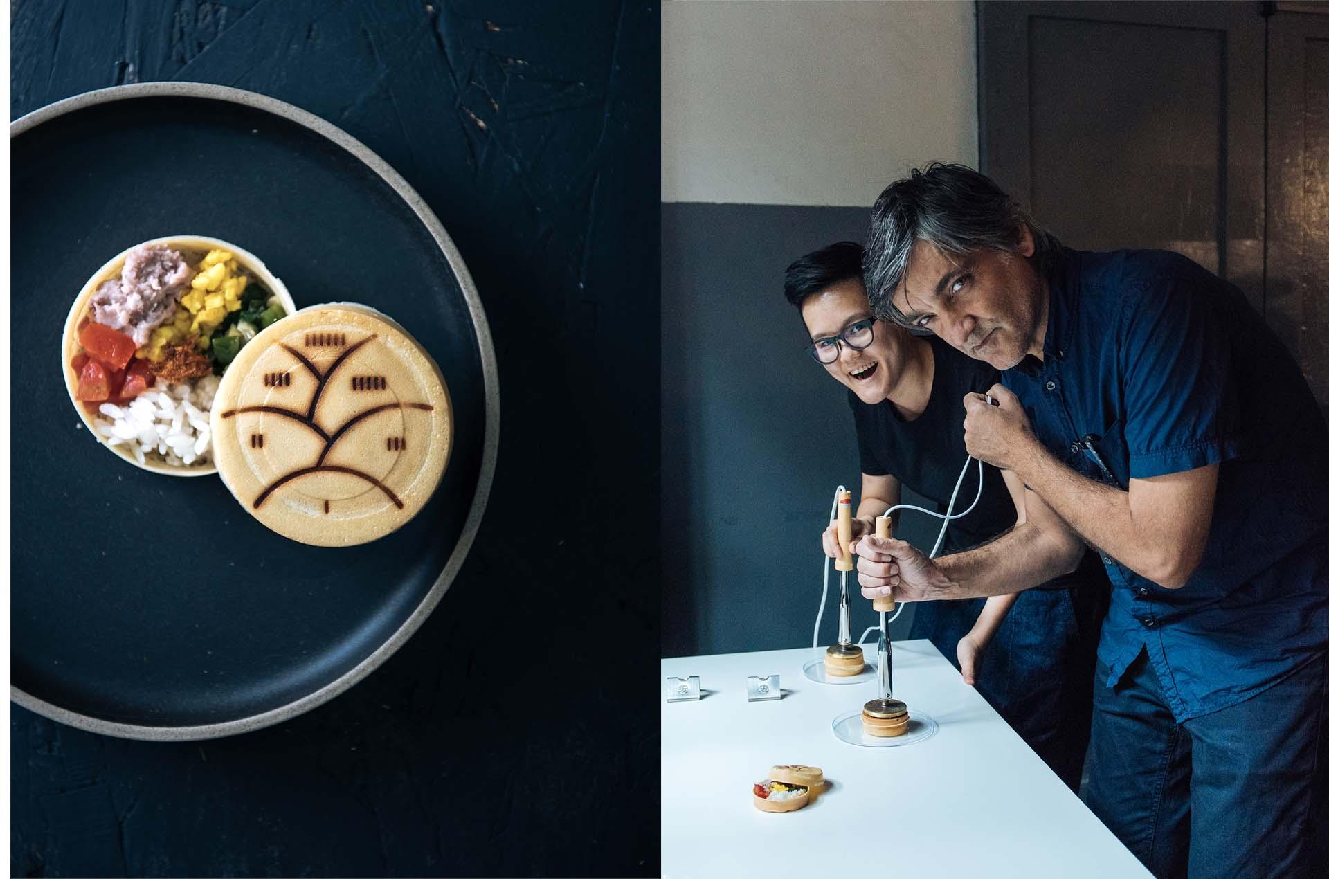 邀請西班牙設計師Martí Guixé一同改造車輪餅,透過全台灣不同地區的食材,如三星蔥、芋泥、紅豆等等,依序裝在車輪餅的內餡盒中。