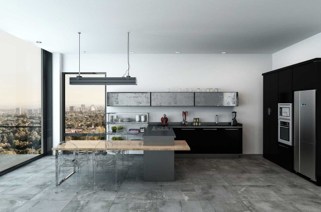 Modern spacious open plan modern kitchen in a monochrome home with fitted appliances and view through large floor to ceiling windows of the city below, 3d rendering; Shutterstock ID 548544685; PO: 25pack; Job: 20180906; Client: tt; Other: aa