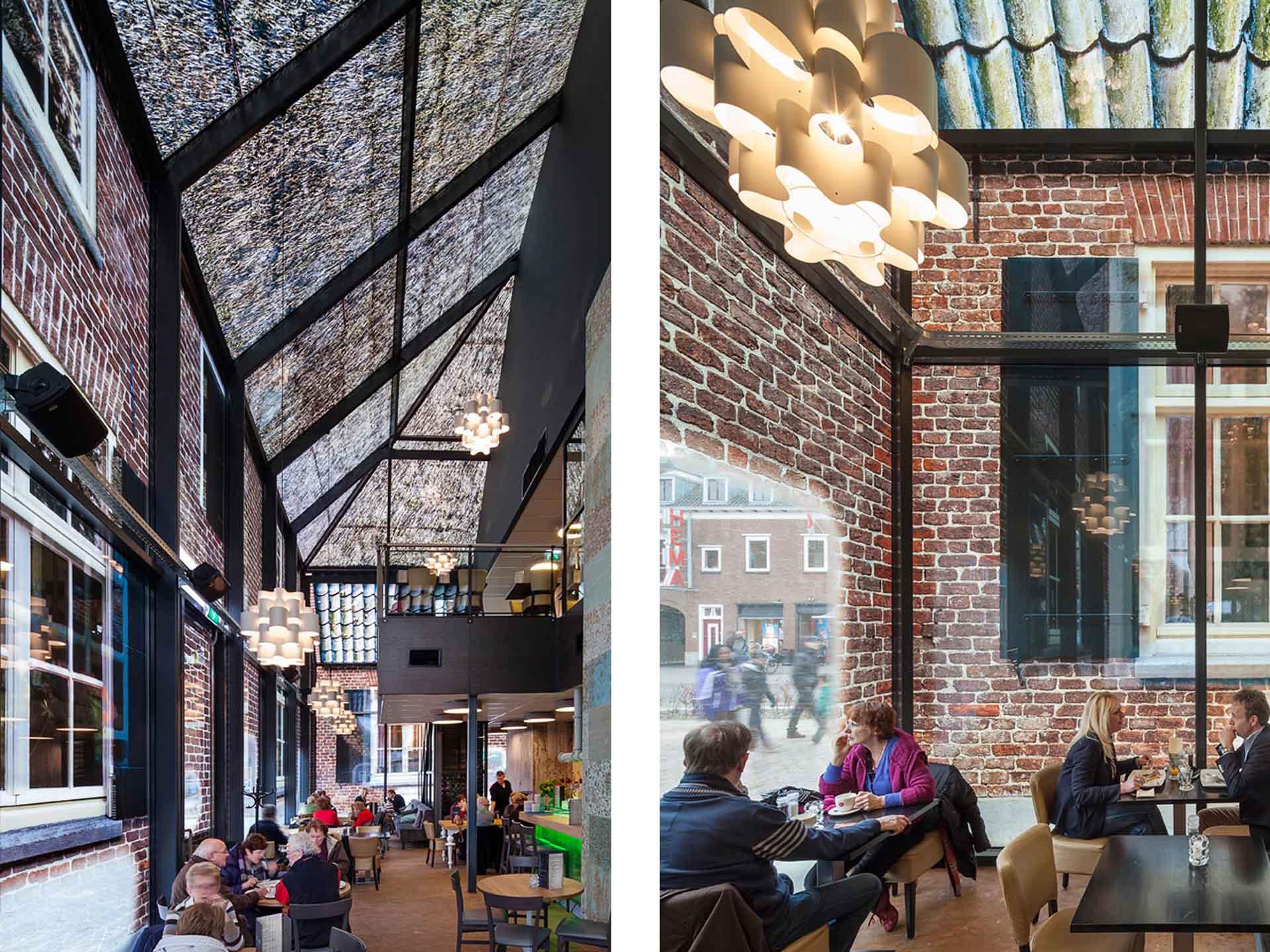 主持玻璃農舍設計的MVRDV巧妙運用藝術家Frank van der Salm的影像創作,將磚牆、茅草等典型建築的影像拼貼於玻璃上,猶如穿透時空看見古今。圖/https://www.mvrdv.nl/en/projects/glass-farm